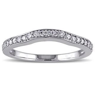 Miadora 14k White Gold 1/4ct TDW Diamond Wedding Band