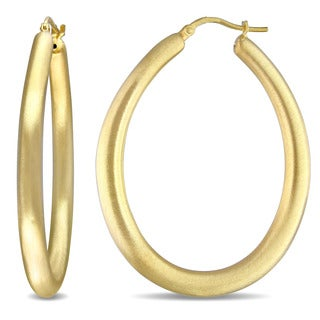 Miadora Yellow Silver Hoop Earrings