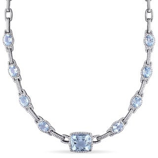 Miadora Signature Collection 14k White Gold Aquamarine and 2 1/2ct TDW Diamond Station Necklace - Blue