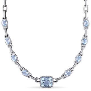 Miadora Signature Collection 14k White Gold Aquamarine and 2 1/2ct TDW Diamond Necklace (G-H, SI1-SI2)