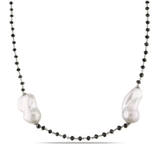 Miadora 14k White Gold FW Pearl and 32 1/3ct TDW Black Diamond Necklace|https://ak1.ostkcdn.com/images/products/10317978/P17429441.jpg?impolicy=medium