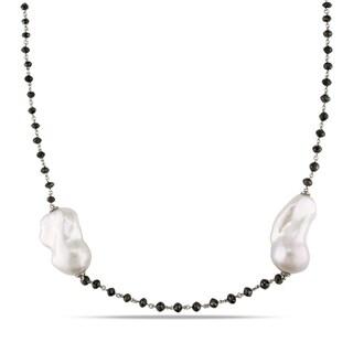 Miadora 14k White Gold FW Pearl and 32 1/3ct TDW Black Diamond Necklace