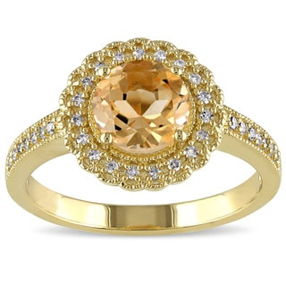 Miadora Yellow Plated Silver Citrine and 1/6ct TDW Diamond Ring (G-H, I2-I3)