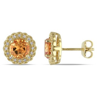 Miadora Yellow Plated Silver Citrine and 1/10ct TDW Diamond Earrings (G-H, I2-I3)