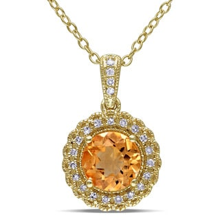 Miadora Yellow Plated Silver Citrine and 1/10ct TDW Diamond Necklace (G-H, I2-I3)