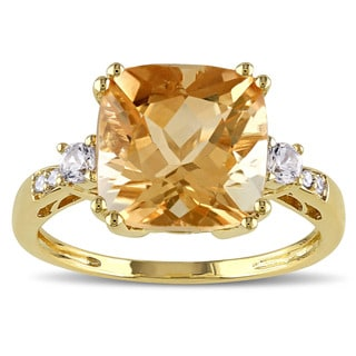 Miadora 10k Yellow Gold Citrine, Sapphire, and Diamond Accent Ring