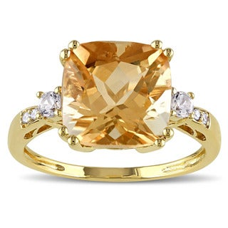 Miadora 10k Yellow Gold Citrine, Sapphire, and Diamond Accent Ring (More options available)