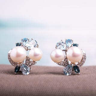 Miadora Sterling Silver Cultured Freshwater Pearl and Blue Topaz and Created White Sapphire Stud Earrings