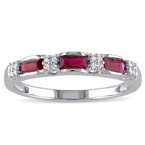 Miadora 10k White Gold Ruby and Diamond Accent Eternity Ring