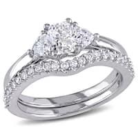 Miadora Signature Collection 14k White Gold 1 1/5ct TDW Diamond Bridal Ring set