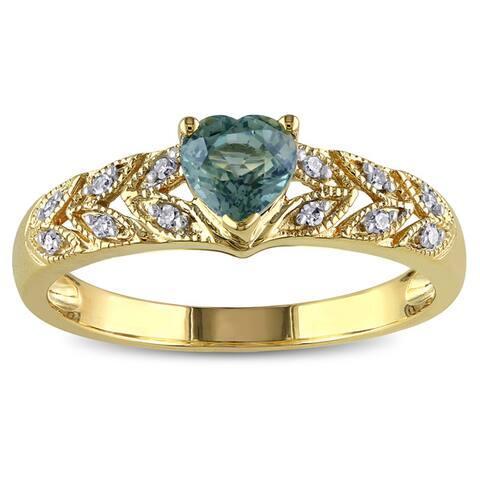 Miadora 10k Yellow Gold Green Sapphire and Diamond Accent Ring
