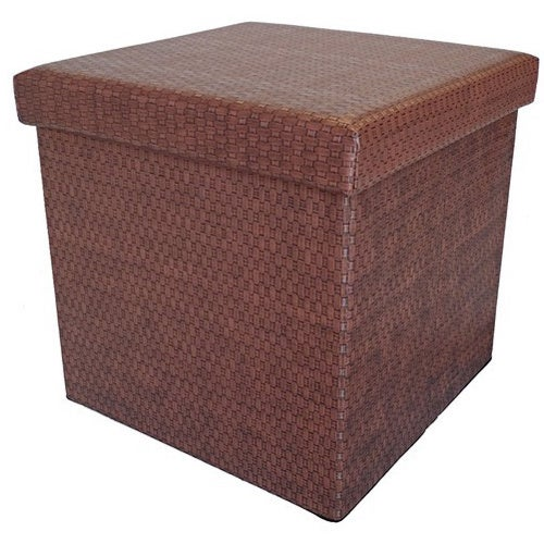 Advertisement - Colonial Wicker-Patterned Vinyl Storage Ottoman - Free Shipping On