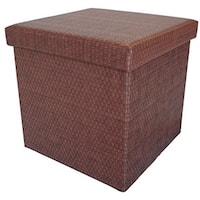 Colonial Wicker-Patterned Vinyl Storage Ottoman