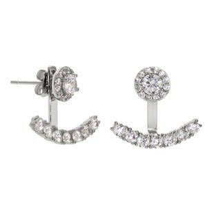 Eternally Haute Goldplated Cubic Zirconia Back Ear Jacket Earrings