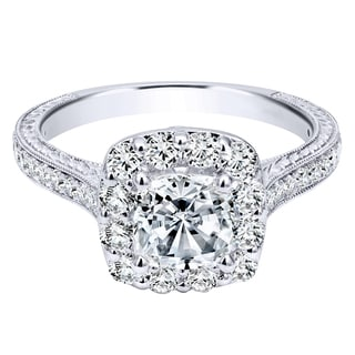 14k White Gold Cubic Zirconia 3/4ct TDW Carved Halo Diamond Semi-mount Engagement Ring (H-I, I1-I2) (Size 4.25)