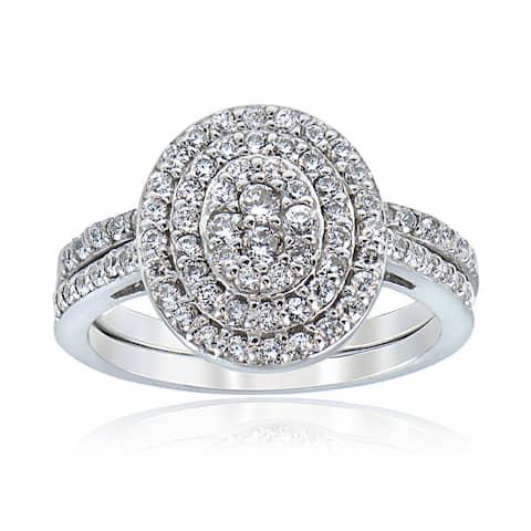 ICZ Stonez Sterling Silver Pave-set Cubic Zirconia Bridal Ring Set