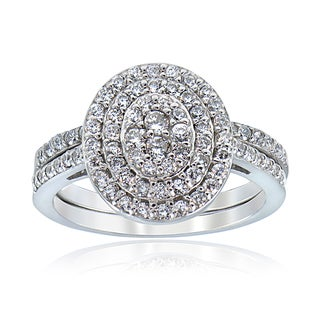 ICZ Stonez Sterling Silver Pave-set Cubic Zirconia Bridal Ring Set