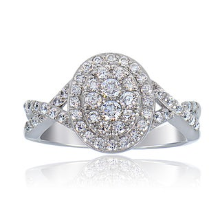 ICZ Stonez Sterling Silver Cubic Zirconia Oval Twist Bridal Ring