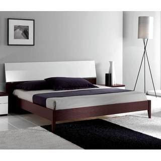 Luca Home Wenge/ White Mid-century Style Bed