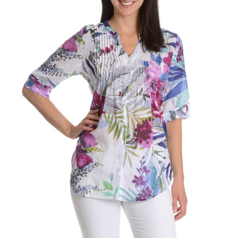 La Cera Women's Printed Tunic Style Button Down Top