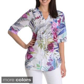 La Cera Women's Printed Tunic Style Button Down Top