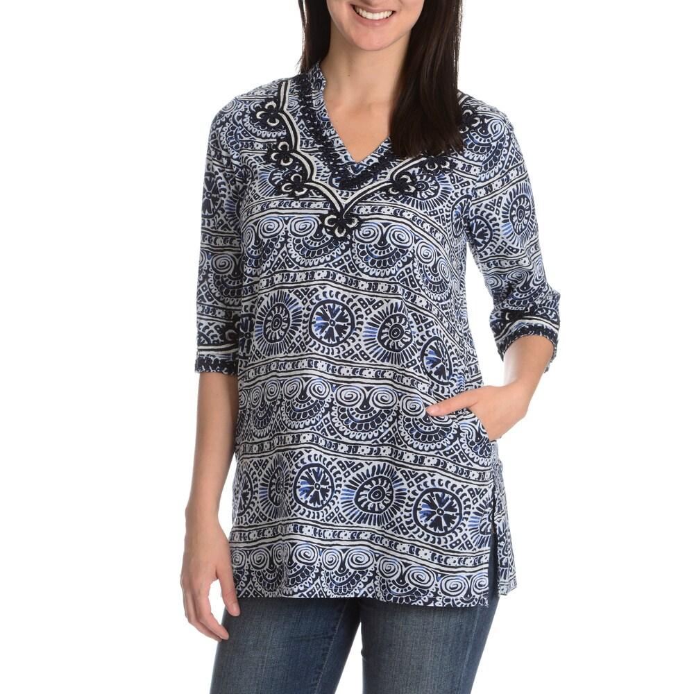La Cera Womens Embroidery Detail Printed Tunic