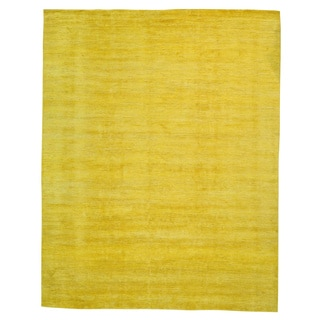 Oversize Hand Knotted Oriental Rug Yellow Gabbeh (11'9 x 14'10)