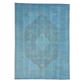 Sky Blue Oushak 100 Percent Wool Oriental Rug Hand Knotted (9' x 12'4)