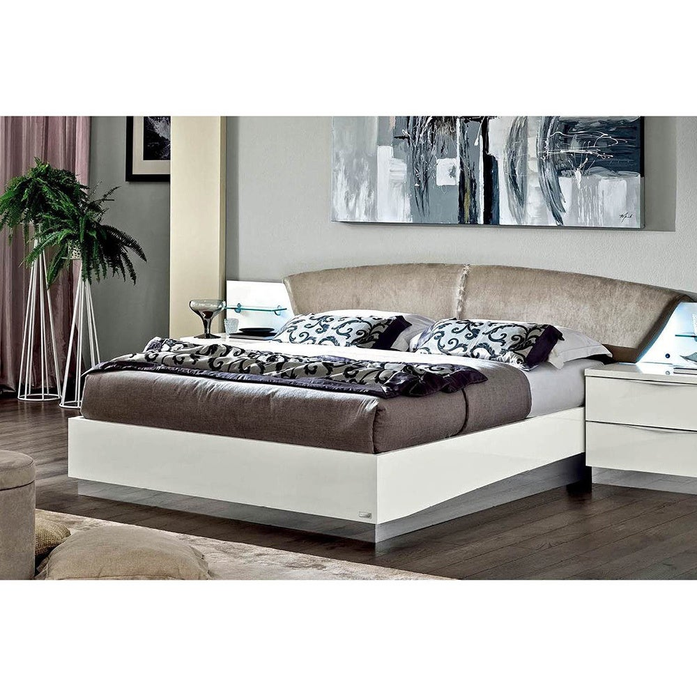 Luca Home White Nabuk Italian Leather Bed (Queen)