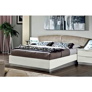 Luca Home White Nabuk Italian Leather Bed