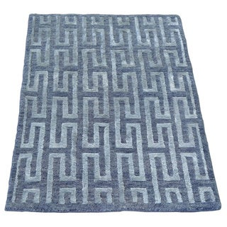 Hand Knotted Modern Silver Blue Wool and Silk Oriental Rug (2' x 2'10)