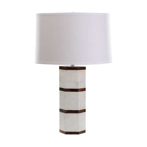 dimond white marble wood hexagon table lamp free shipping today 17429639. Black Bedroom Furniture Sets. Home Design Ideas