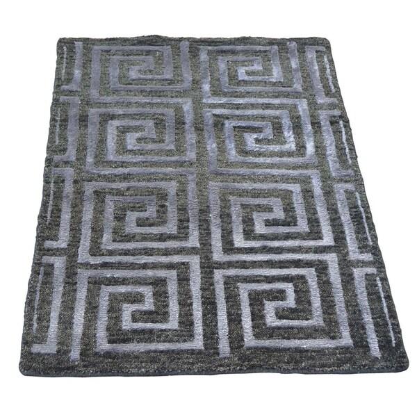 Charcoal Black Handmade Modern Wool and Silk Oriental Rug (2' x 2'10)