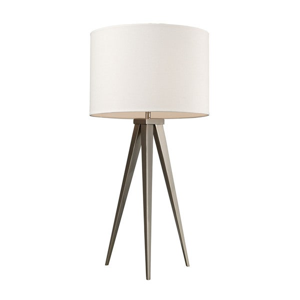 Dimond Salford Satin Nickel Off-white Linen Shade Table Lamp