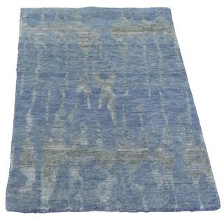 Wool and Silk Abstract Design Modern Oriental Rug Handmade (2' x 2'10)