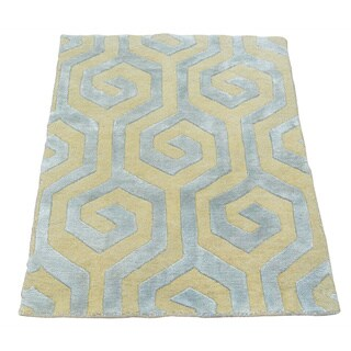 Wool and Silk Modern Oriental Rug Hand Knotted (2' x 2'10)