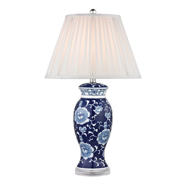 Dimond Hand Painted Ceramic Blue White Acrylic Base Table Lamp