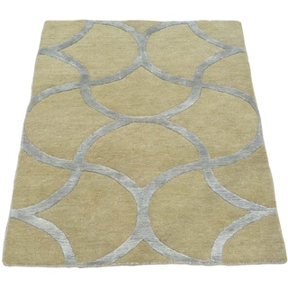 Beige Wool and Silk Modern Oriental Rug Sample Hand Knotted (2'1 x 3')