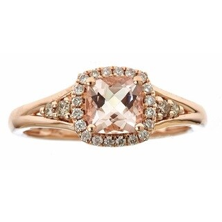 Anika and August 10k Rose Gold Morganite and 1/4ct TDW White and Brown Diamond Ring