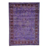 Hand Knotted Oriental Rug Peshawar Overdyed Purple (5'8 x 7'10)