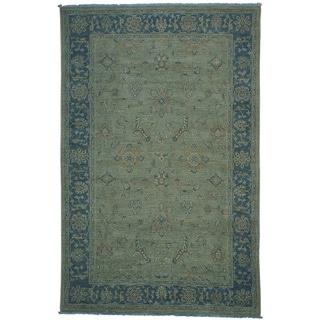 Silver Blue Overdyed Peshawar Handmade Oriental Rug (6' x 9'1)