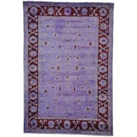 Purple Overdyed Peshawar Hand Knotted Oriental Rug (6'8 x 9'10)