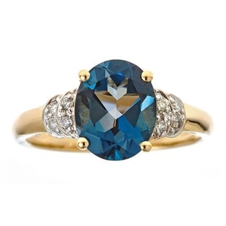 Anika and August 14k Yellow Gold London Blue Topaz and 1/10ct TDW Diamond Ring (G-H, I1-I2) (Size 7)