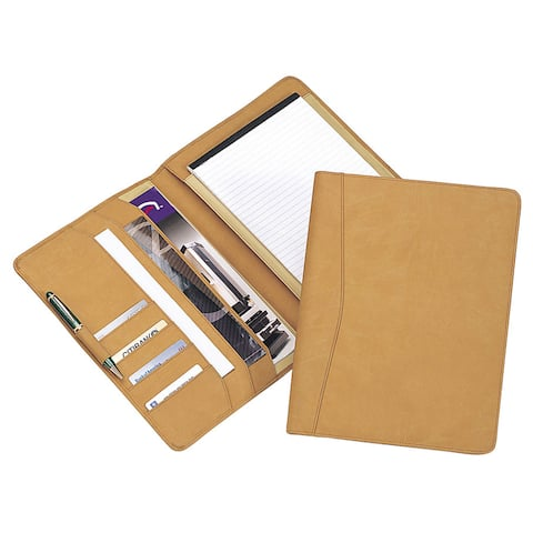Unisex Executive Meeting Business Tan Writing Memo Padfolio w/ Cards Files Holders Storage