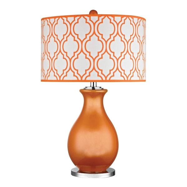 Dimond Thatcham Tangerine Orange Polished Nickel Table Lamp