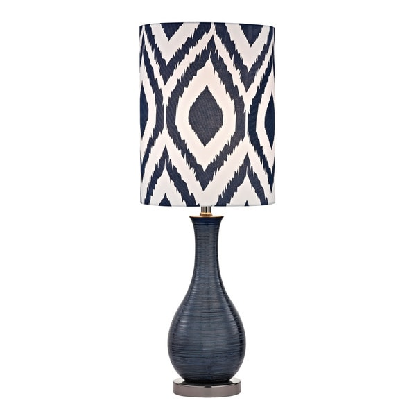 Dimond Navy Blue Textured Ceramic Printed Shade Accent Lamp
