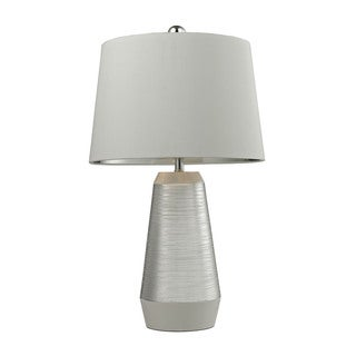 Dimond Etched Ceramic Silver White Table Lamp