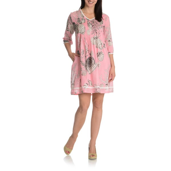 La Cera Women's 3/4 Sleeve Printed Tunic Dress