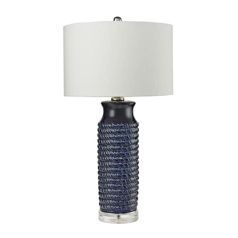 """Dimond Lighting Wrapped Rope Navy Blue Table Lamp - 16""""w x 16""""d x 30""""h"""