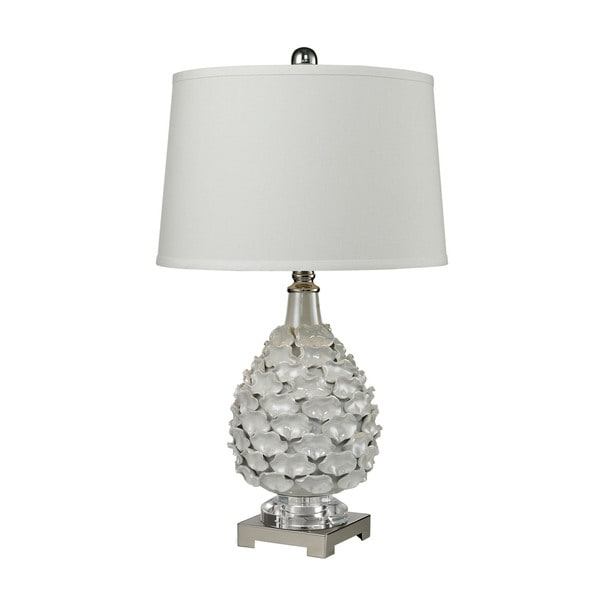 Dimond Hand Formed Ceramic White Pearlescent Glaze Table Lamp